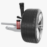 3D car rear suspension wheel model