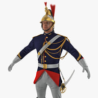 French Republican Guard in Traditional Uniform with Fur 3D Model