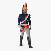 French Republican Guard Walking Pose with Fur