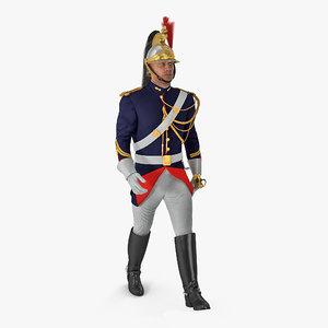 3D french republican guard walking