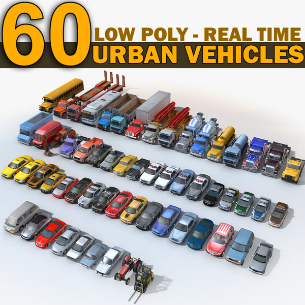 3D 60 urban cars vehicles model