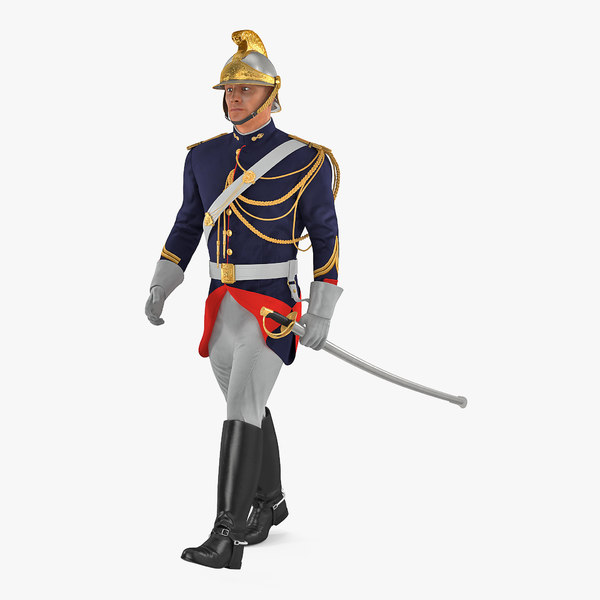 3D french cuirassier officers walking
