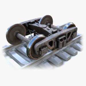 3D low-poly cargo train bogie