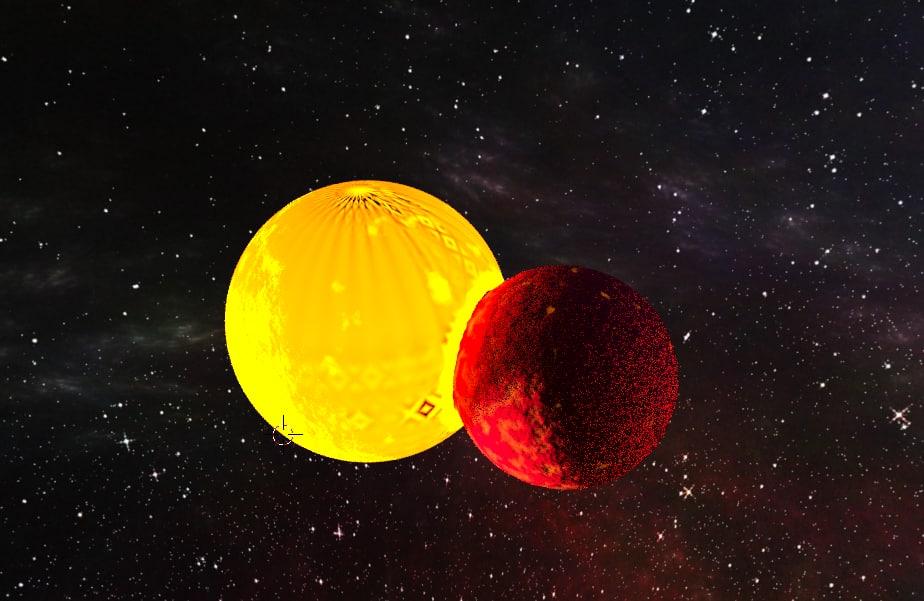 planet colliding destruction 3D model