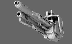 3D sci-fi chaingun polygonal model