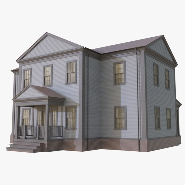 3D colonial house 12