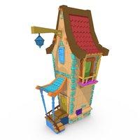 3D model cartoonized house toon