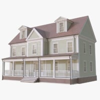 colonial house 3d model - 3d Model Of House