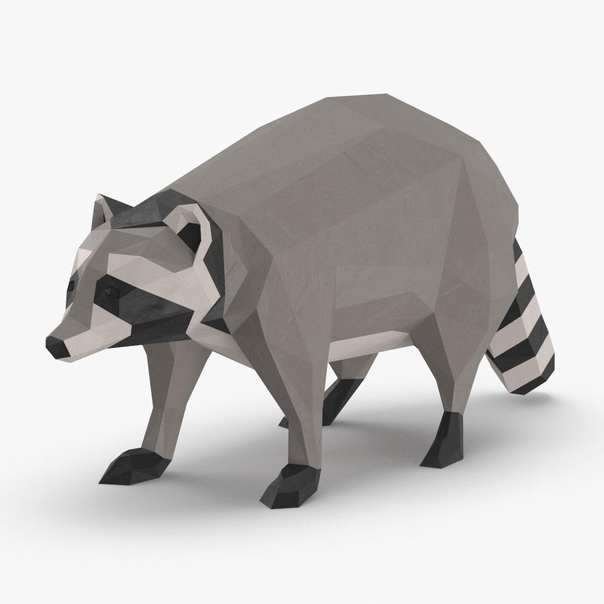 raccoon---standing 3D model