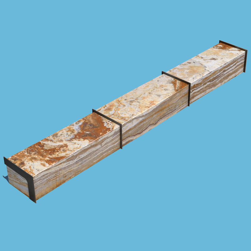 long marble bench 3D