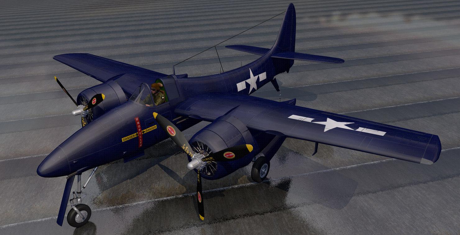 3D plane grumman f7f-1 tigercat model