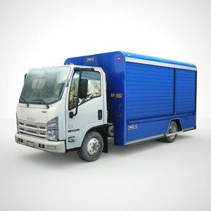 3D isuzu npr beverage truck