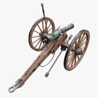 3D model 6-pounder smoothbore field cannon