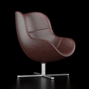 3D scandinavian swivel chair brown leather