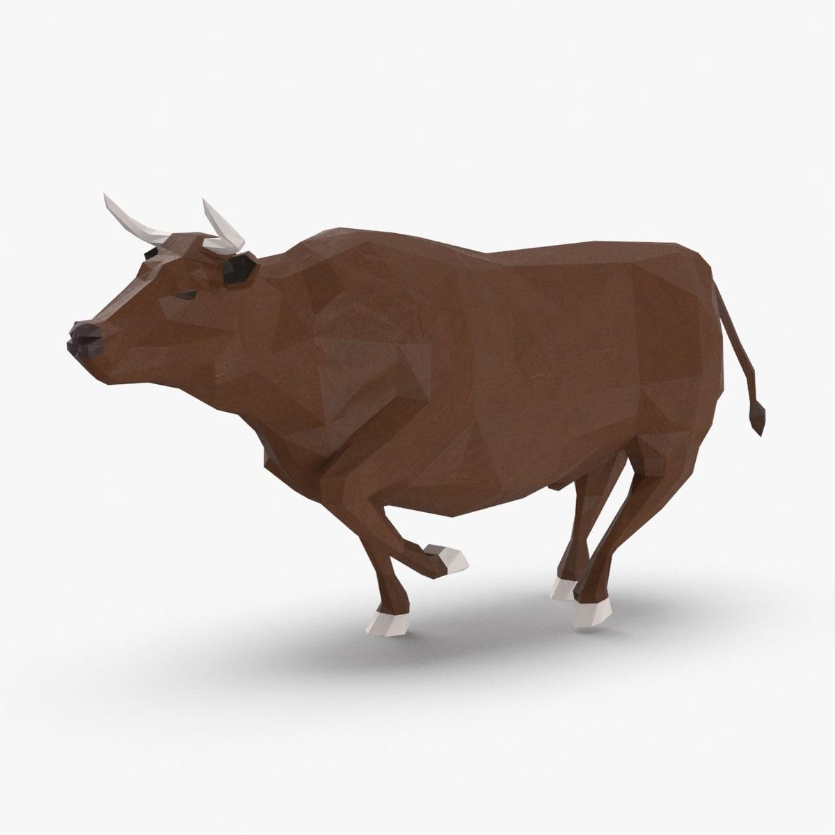 3D bull---brown-running