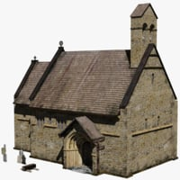 3D low-poly medieval chapel fantasy model