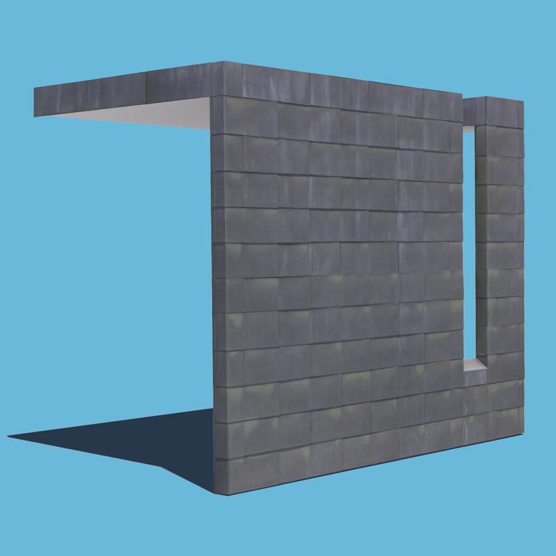 3D metal tiled wall model