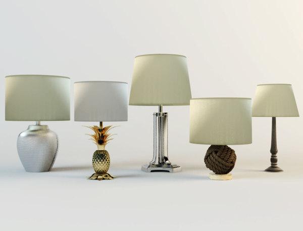 3D table lamps zara home model