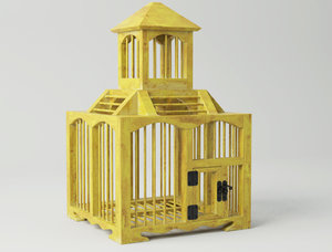 3D model yellow decorative cage zara