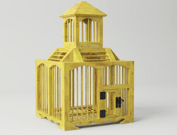 3D model yellow decorative cage zara