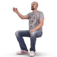 man cheers human body 3D model