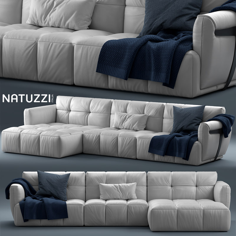 Pure Leather Sofa Sets: Couch Sofa 3D Model