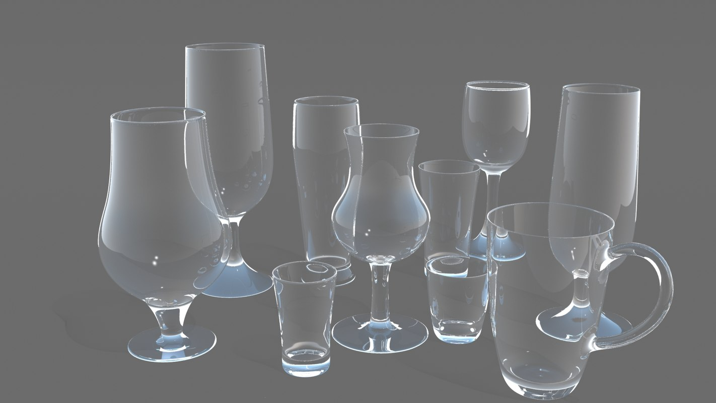 3D realistic glass drinking model