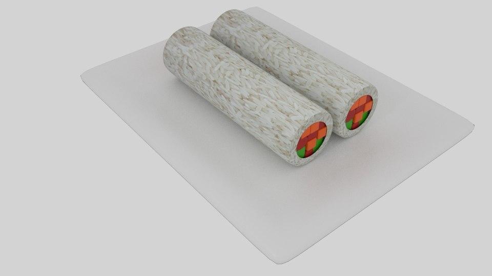 cylinder sushi 3D model