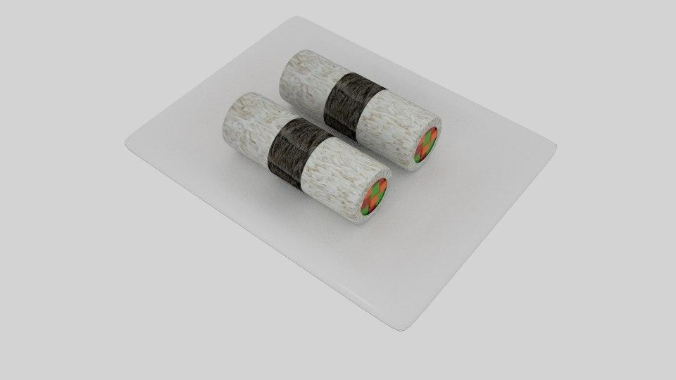 3D cylinder sushi nori strip model