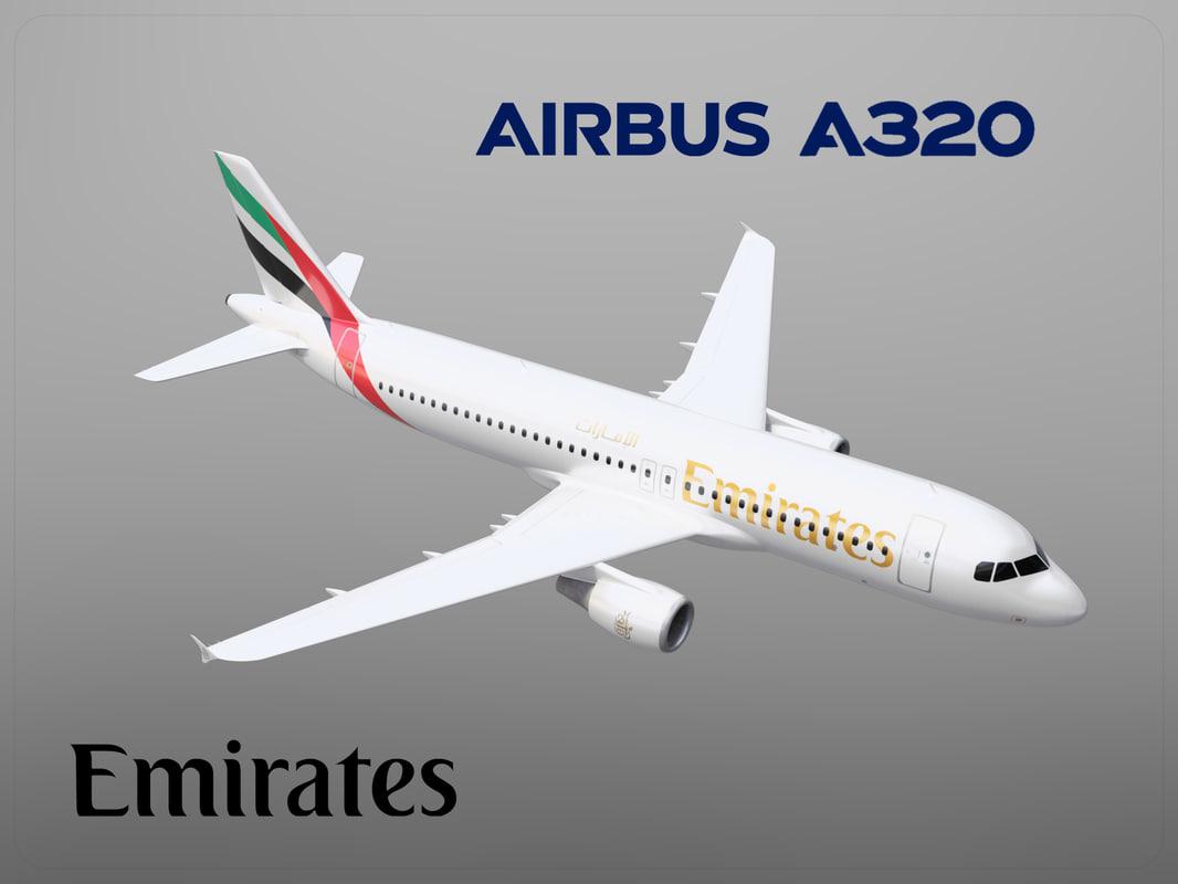 airbus a320 emirates 3D model
