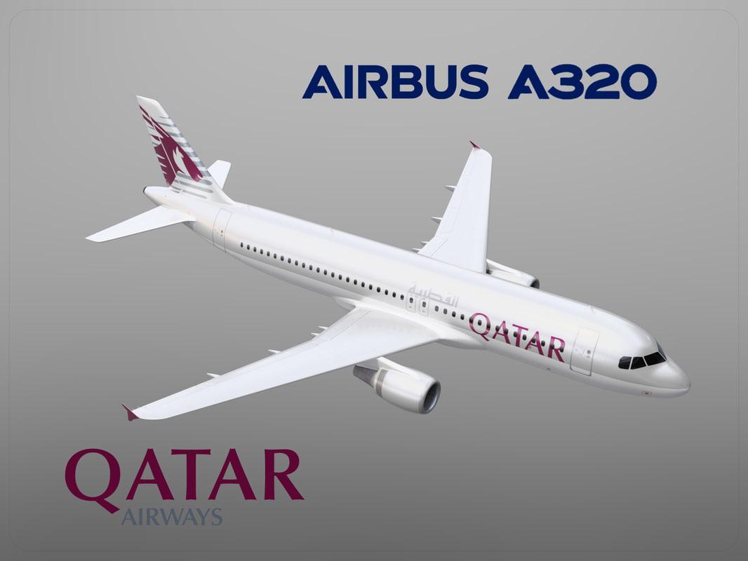 airbus a320 qatar airways 3D model