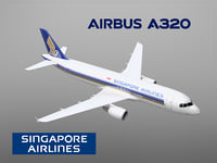 3D airbus a320 singapore airlines