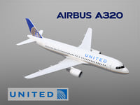 airbus a320 united airlines 3D