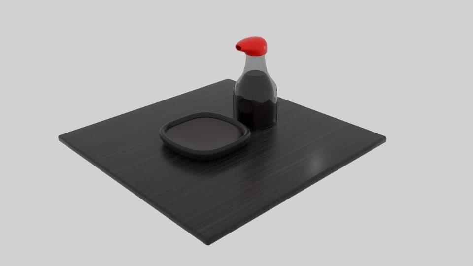 3D japanese soy sauce model