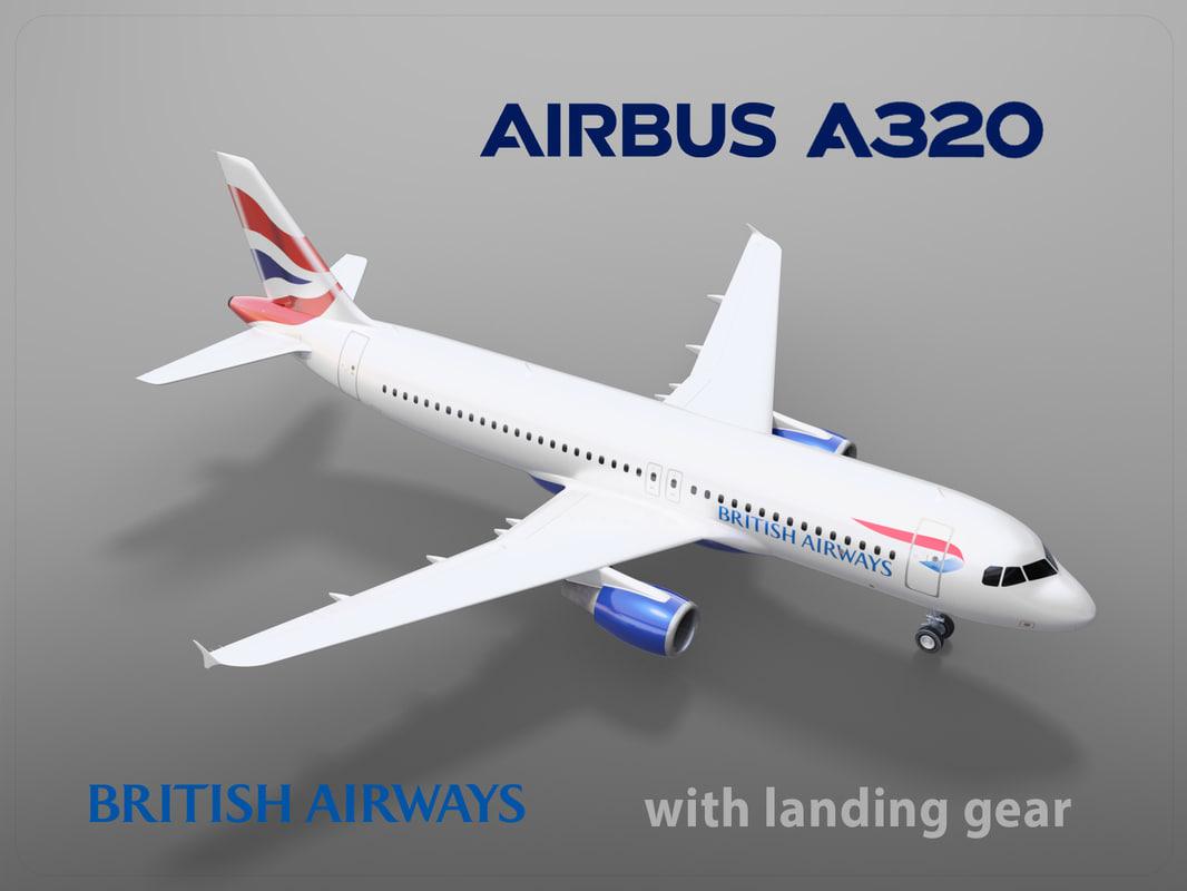 3D model airbus a320 british airways