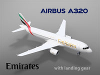 3D airbus a320 emirates landing gear