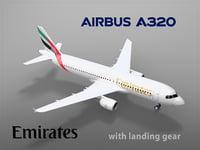 3D airbus a320 emirates landing gear