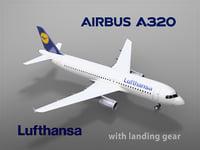 airbus a320 lufthansa landing gear 3D model