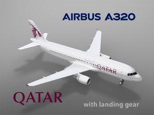 3D airbus a320 qatar airways model