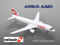 3D airbus a320 swiss airlines