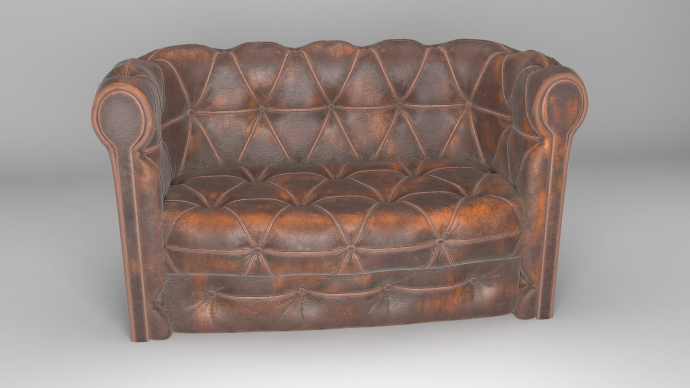 3D sofa chesterfield leather model