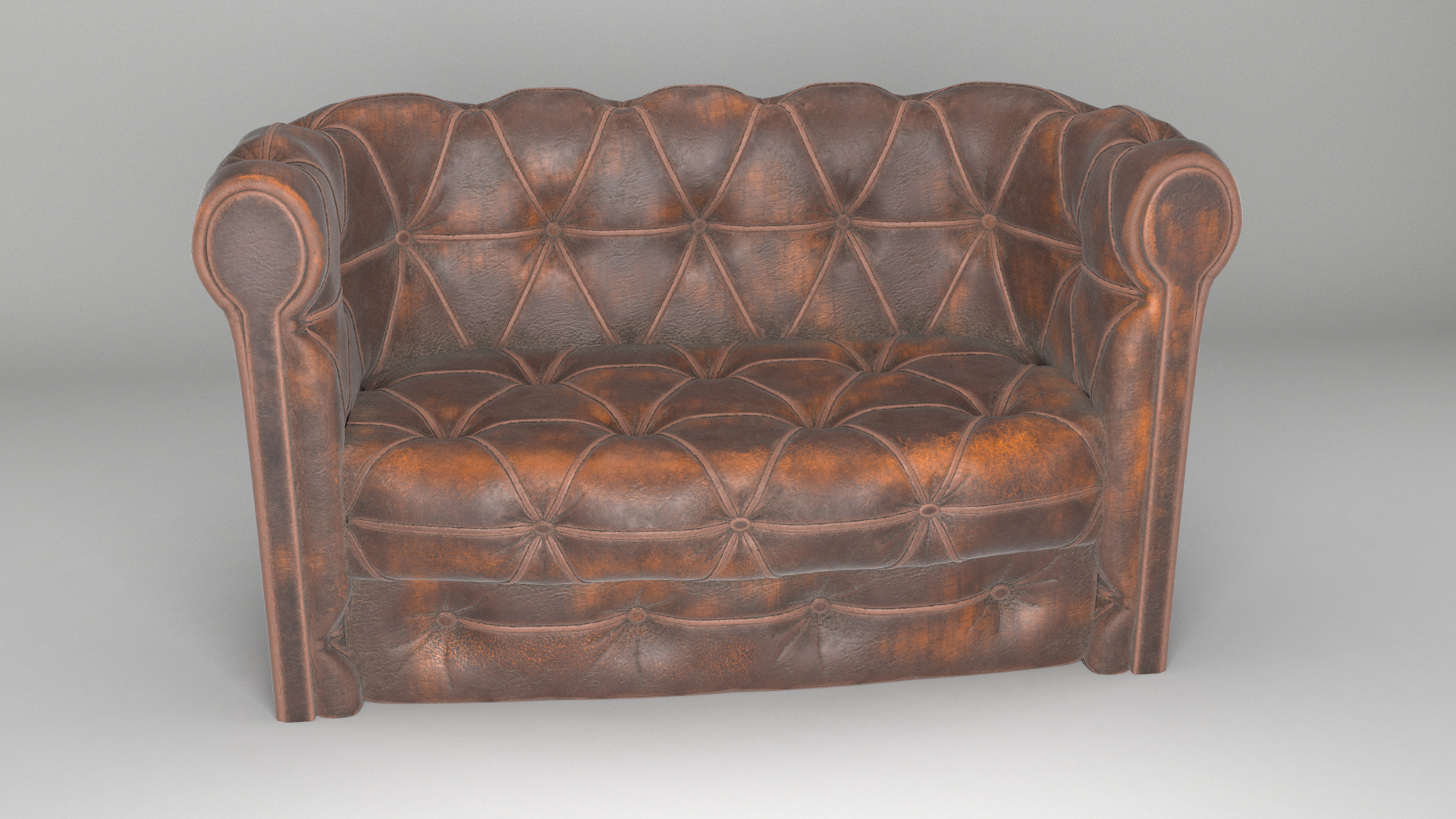 Old Leather Chesterfield Sofa