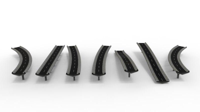 3D model road sections