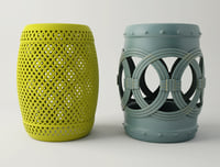 3D blue yellow garden stools