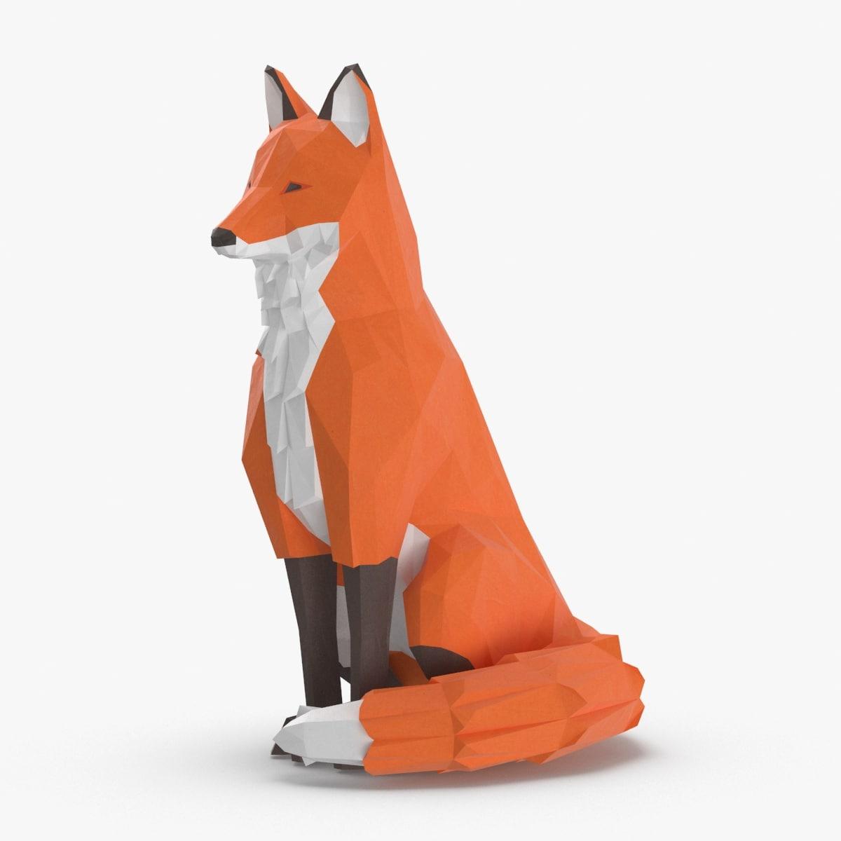 3D fox---sit model