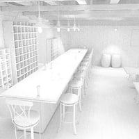 interior scene bar 3D