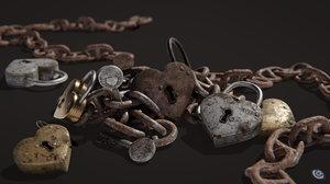 3D heart shaped lock key model