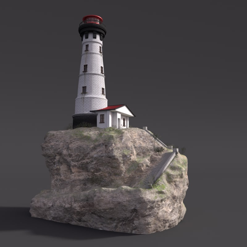 3D lighthouse cliff ocean