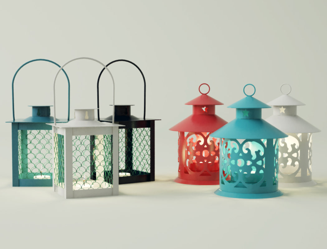 3D coloured lanterns tealightholders