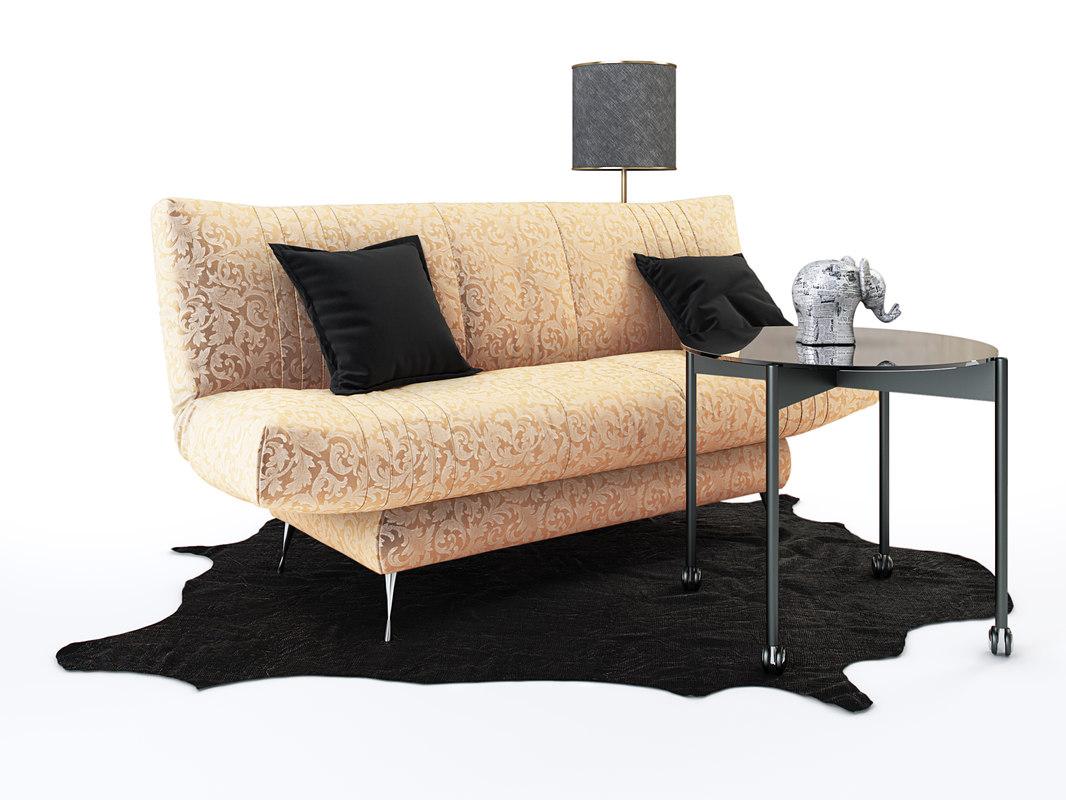 3D model sofa city redsofa